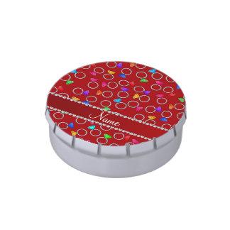 Anillo de diamante rojo conocido personalizado del latas de caramelos