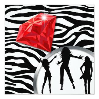 """Anillo de diamante rojo del fiesta de Bachelorette Invitación 5.25"""" X 5.25"""""""