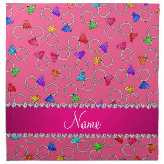 Anillo de diamante rosado conocido personalizado servilleta imprimida