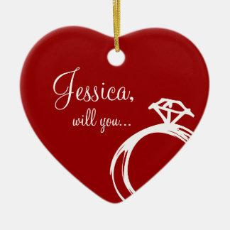 Anillo de diamante usted me casará ornamento adornos de navidad
