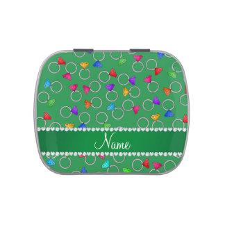 Anillo de diamante verde conocido personalizado frascos de dulces