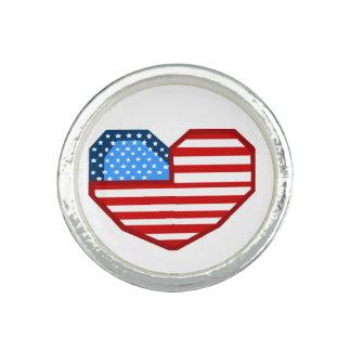 Anillo de la bandera del corazón de los E.E.U.U.
