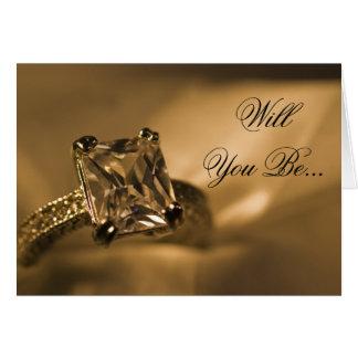 Anillo de la princesa diamante usted será mi dama tarjeta de felicitación