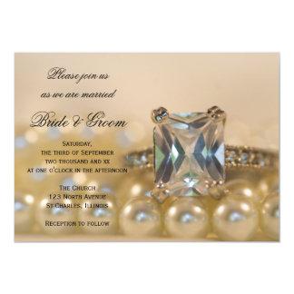 """Anillo de la princesa diamante y el casarse blanco invitación 5"""" x 7"""""""