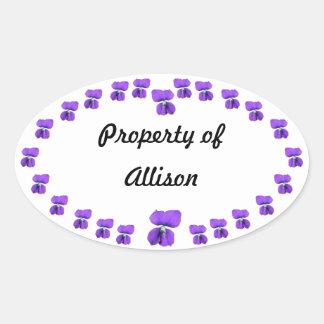 Anillo de violetas pegatina ovalada