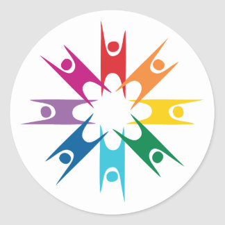 Anillo del arco iris de humanistas etiqueta redonda