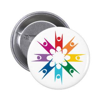 Anillo del arco iris de humanistas pin redondo de 2 pulgadas