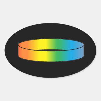 Anillo del arco iris pegatina ovalada