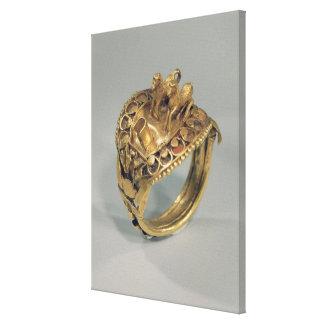 Anillo del caballo oro y cornalina impresión en lona estirada