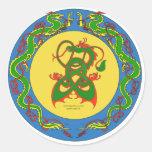anillo del dragón del zen pegatina redonda