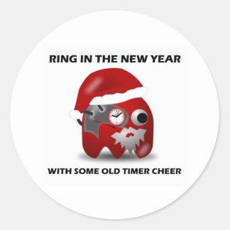 Anillo en el Año Nuevo con una cierta vieja Pegatina Redonda