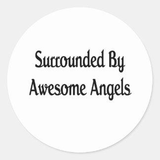 Anillo por ángeles impresionantes pegatinas redondas
