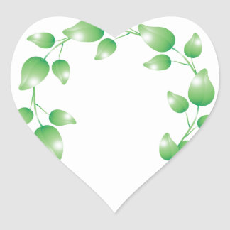 Anillo verde de la guirnalda de la hoja pegatina en forma de corazón