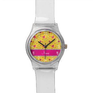Anillos amarillos conocidos de encargo de los relojes de pulsera