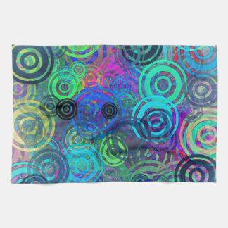 Anillos coloridos abstractos toalla de mano
