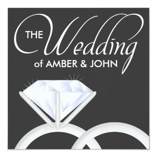 Anillos de bodas de diamante Invitaion (negro) Anuncio