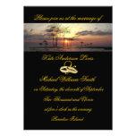 Anillos de bodas de la puesta del sol de la isla d comunicados personales