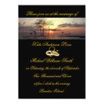 Anillos de bodas de la puesta del sol de la isla comunicados personales