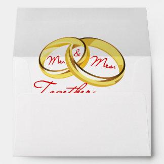 Anillos de bodas de Sr. y de señora Together Sobres