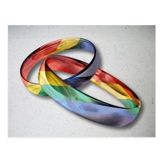 Anillos de bodas del arco iris para la igualdad de postales