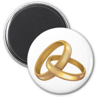 Anillos de bodas del oro entrelazados imán redondo 5 cm