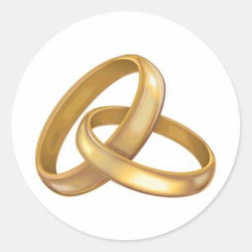 Anillos de bodas del oro entrelazados pegatinas redondas