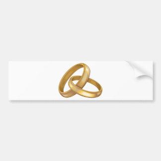 Anillos de bodas del oro entrelazados pegatina para auto