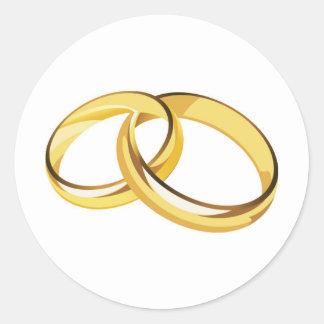 anillos de bodas pegatina redonda