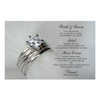 Anillos de bodas que casan el menú papelería de diseño