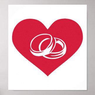 Anillos de bodas rojos del corazón poster