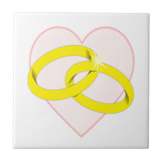 Anillos de bodas y corazón entrelazados azulejo cuadrado pequeño