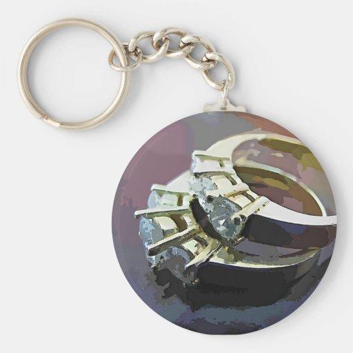 Anillos de diamante llaveros personalizados