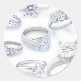 Anillos de diamante pegatina redonda