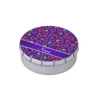 Anillos de diamante púrpuras conocidos frascos de caramelos