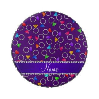 Anillos de diamante púrpuras conocidos latas de caramelos