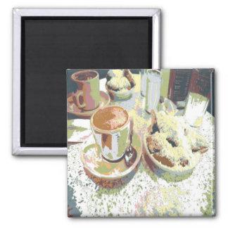 Anillos de espuma de Aulait del café y del café de Imán Cuadrado