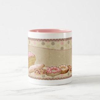 Anillos de espuma de los pasteles de los dulces de taza de café de dos colores