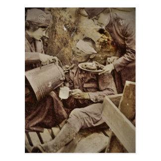 Anillos de espuma del café del servicio de los tarjeta postal