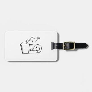 Anillos de espuma y café etiquetas de maletas