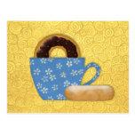 Anillos de espuma y tarjeta de la receta del café tarjetas postales