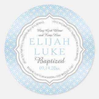 Anillos de la eternidad del muchacho del bautismo pegatina redonda