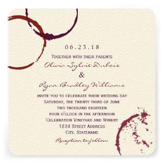 Anillos de la mancha del vino de la invitación el