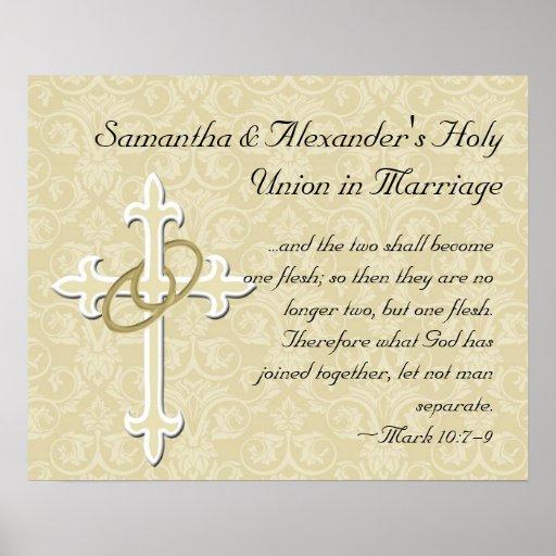 Anillos de oro con la cruz, amor cristiano elegant póster