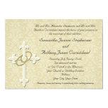 Anillos de oro con la cruz, amor cristiano invitación personalizada