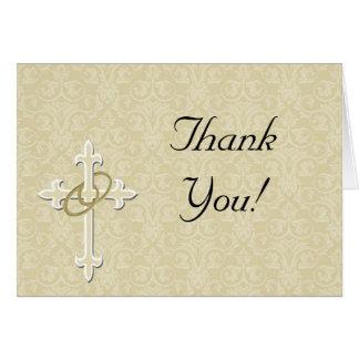 Anillos de oro con la cruz, amor cristiano tarjeta pequeña