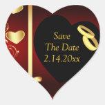 Anillos de oro de los corazones del boda pegatina de corazon