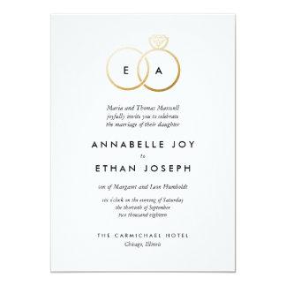 Anillos de oro modernos que casan la invitación