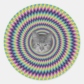 Anillos del gato del color pegatina redonda