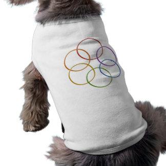 Anillos del orgullo del arco iris playera sin mangas para perro