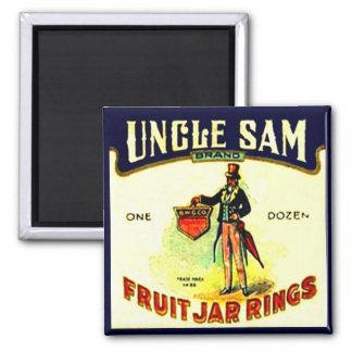 Anillos del tarro de la fruta del tío Sam del vint Imán Cuadrado